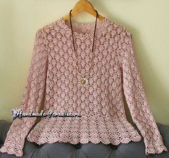 Нежная ажурная блуза крючком. Схема