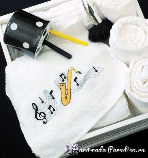 Ноты на подушке. Вязание и вышивка (2)