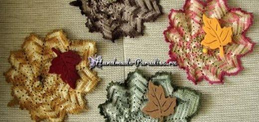 Осенние кленовые листья крючком. Схемы
