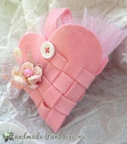 Плетеная валентинка из фетра