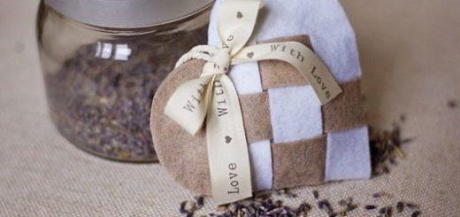 Плетеная валентинка - саше с лавандой