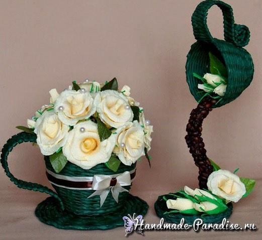 Плетение чайной чашки с блюдцем из газет