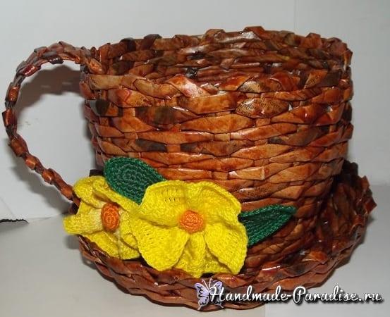 Плетение чайной чашки с блюдцем из газет (3)