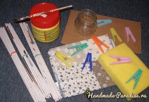Плетение игольницы из газетных трубочек