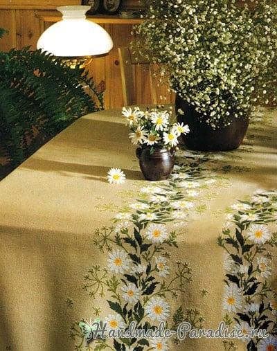 Ромашки на скатерти. Схемы вышивки крестом (3)