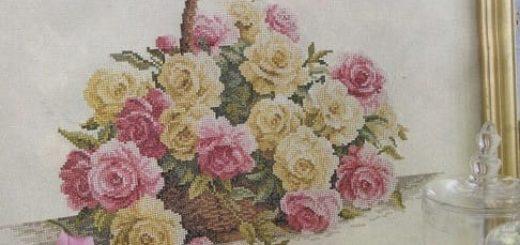 Розы в корзинке. Схема вышивки крестом