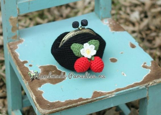 Сумочка и кошелек с клубничками крючком (4)