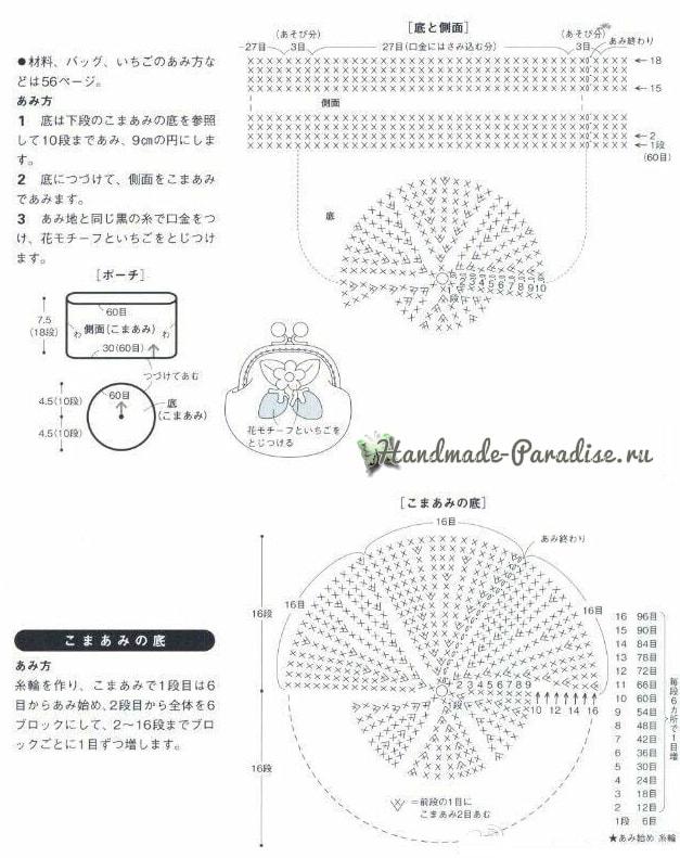 Сумочка и кошелек с клубничками крючком (7)