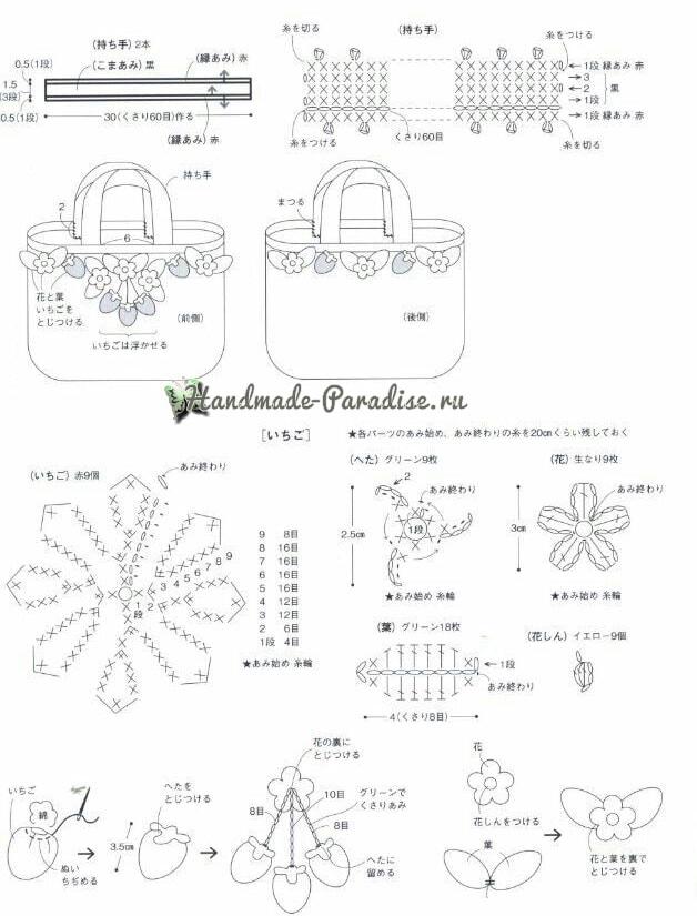 Сумочка и кошелек с клубничками крючком (8)