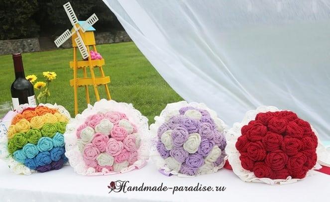 Свадебный букет с розами крючком. Схемы
