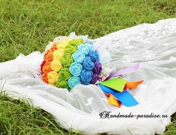 Свадебный букет с розами крючком. Схемы (2)