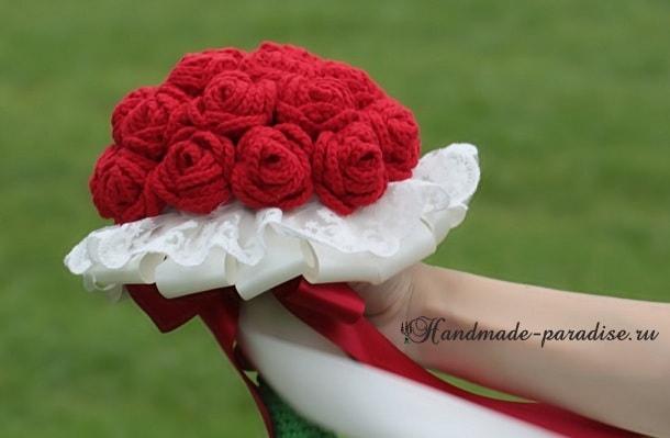 Свадебный букет с розами крючком. Схемы (4)