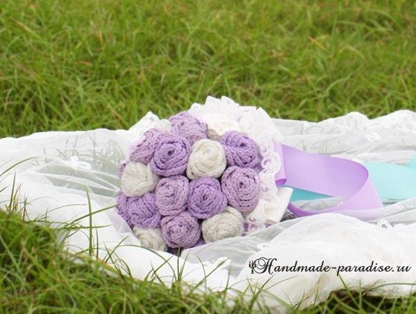 Свадебный букет с розами крючком. Схемы (5)