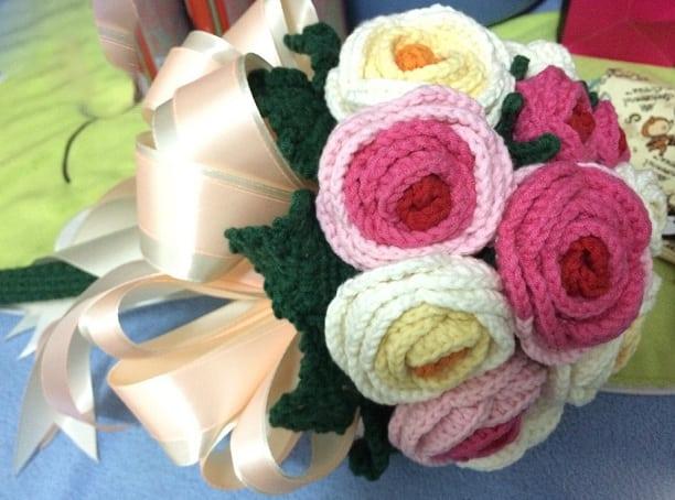 Свадебный букет с розами крючком. Схемы (9)