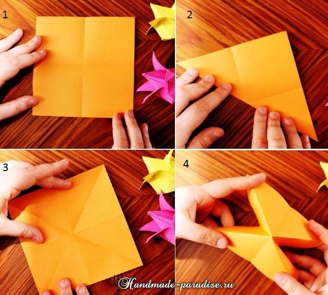 Тюльпаны из бумаги в технике оригами