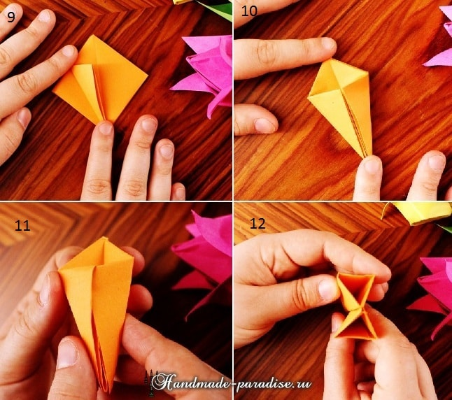 Тюльпаны из бумаги в технике оригами (3)