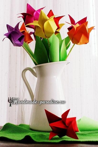 Тюльпаны из бумаги в технике оригами (6)