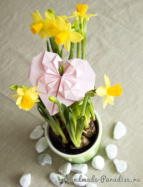 Валентинка из бумаги в технике оригами (10)