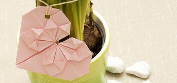 Валентинка из бумаги в технике оригами