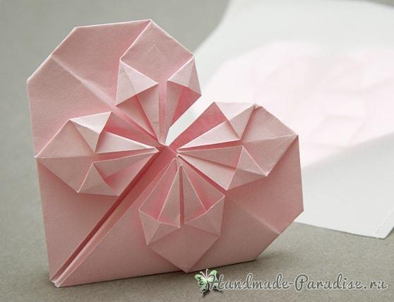 Валентинка из бумаги в технике оригами (8)