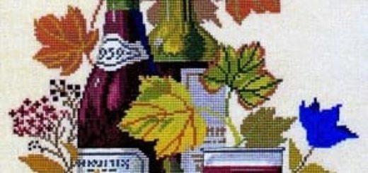 Вино и виноград. Схемы вышивки крестом