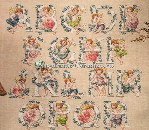 Винтажные монограммы с ангелами. Схемы вышивки (2)