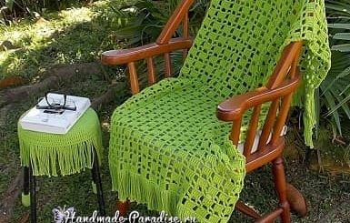 Вяжем крючком накидку для кресла