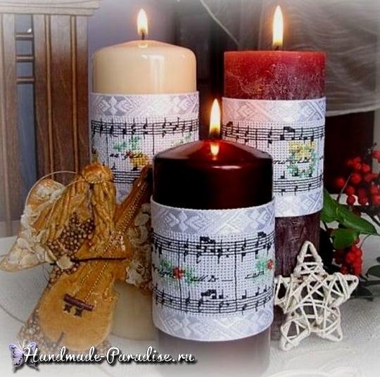 вышивка, ноты, декор свечей