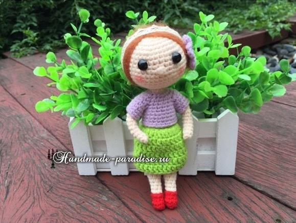 Амигуруми. Куколка в красных туфельках (2)