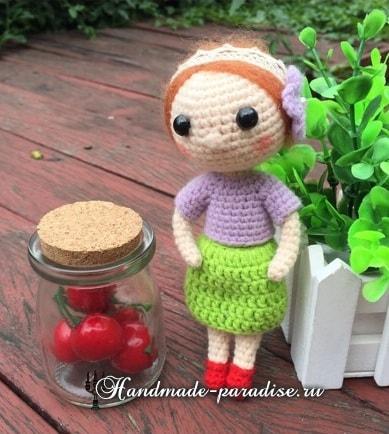 Амигуруми. Куколка в красных туфельках (3)