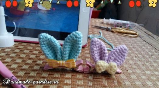 Декор заколки для волос ушками кролика