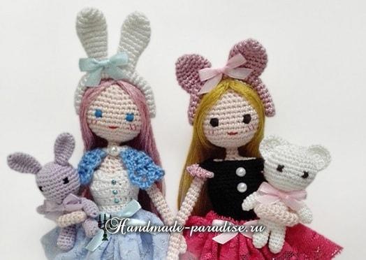 Декор заколки для волос ушками кролика (2)