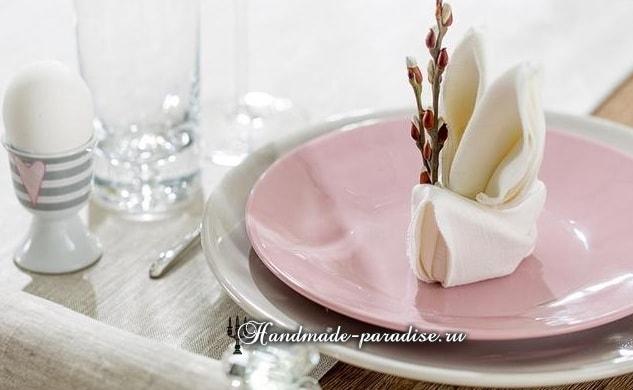 Как сложить салфетку в форме пасхального кролика (16)