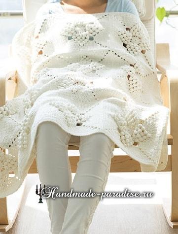 Красивый узор для вязания подушки и пледа