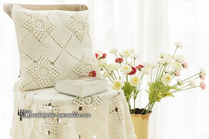 Красивый узор для вязания подушки и пледа (2)
