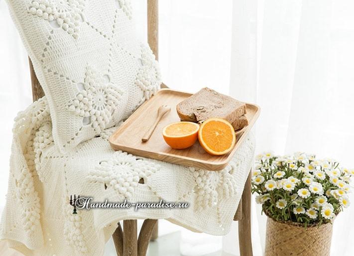 Красивый узор для вязания подушки и пледа (3)