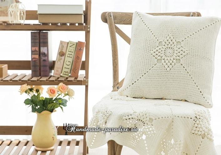 Красивый узор для вязания подушки и пледа (4)