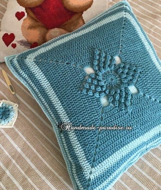 Красивый узор для вязания подушки и пледа (5)