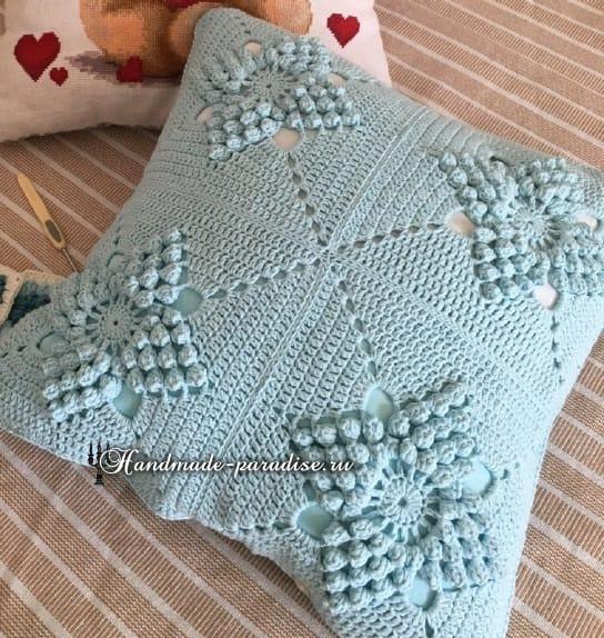 Красивый узор для вязания подушки и пледа (6)