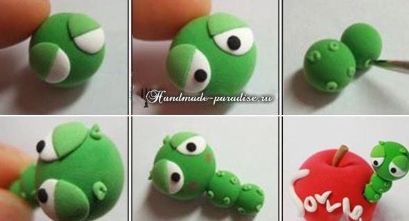 Лепка ГУСЕНИЦЫ из полимерной глины (15)