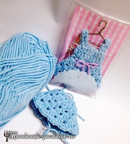Миниатюрный сарафан для куколки амигуруми (3)