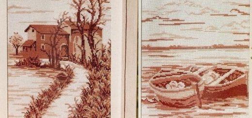 Монохромная вышивка картин. Схемы
