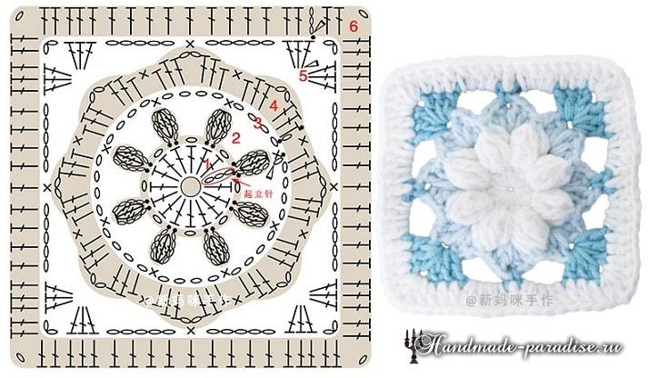 Схемы вязания крючком детского пледа цветочными мотивами (6)