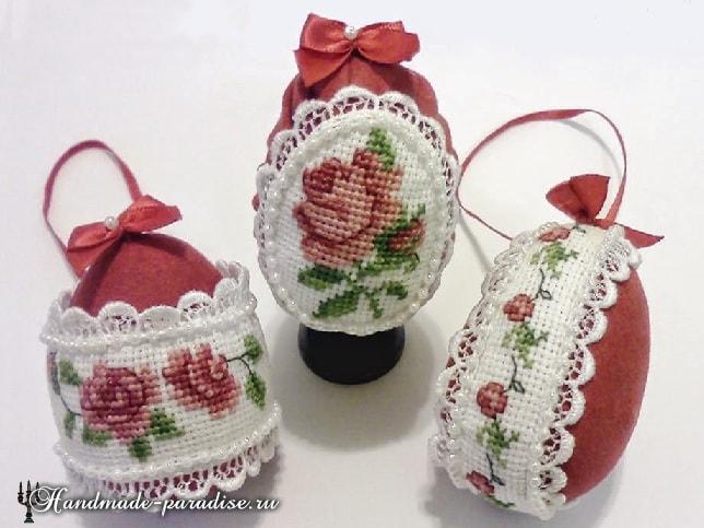 Пасхальные яйца с розами. Схемы вышивки