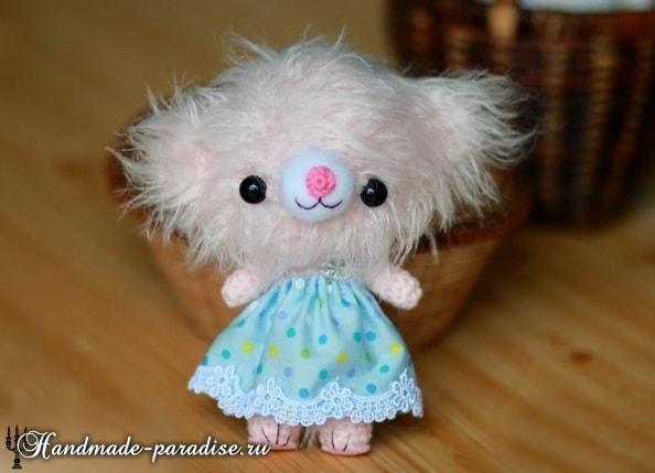 Розовый медвежонок амигуруми. Описание