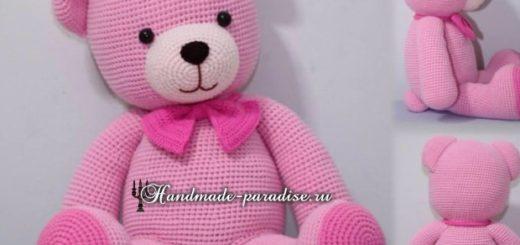 Вязание крючком розового медвежонка