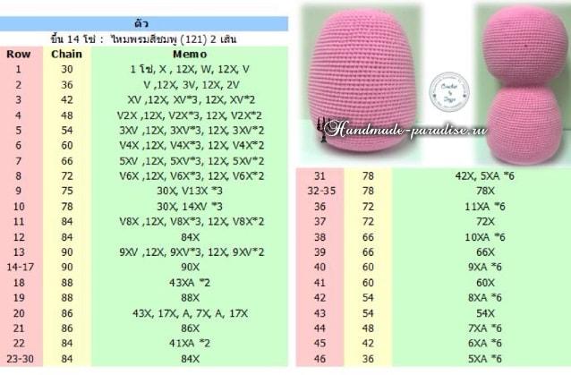 Вязание крючком розового медвежонка (5)