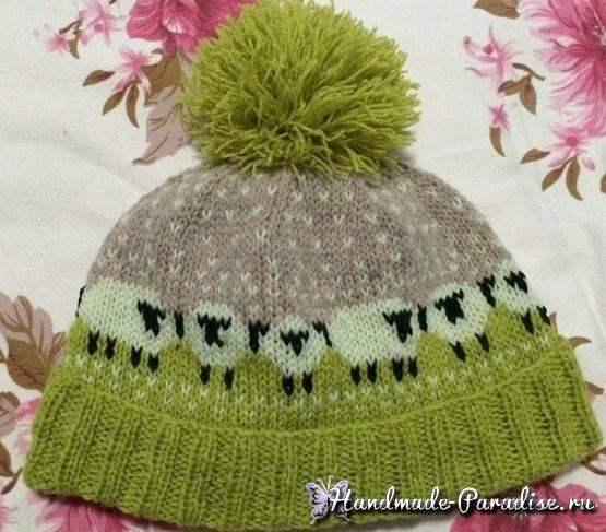 Зимняя шапка с овечками спицами (2)