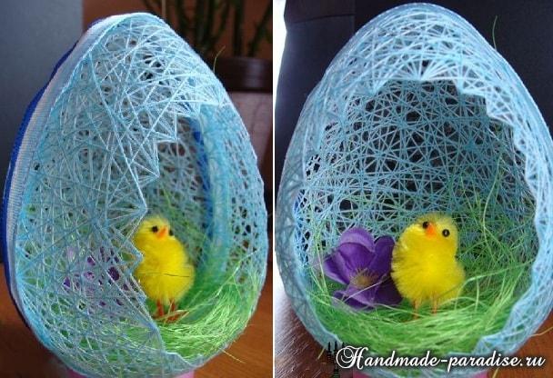 Декоративные пасхальные яйца из ниток (10)