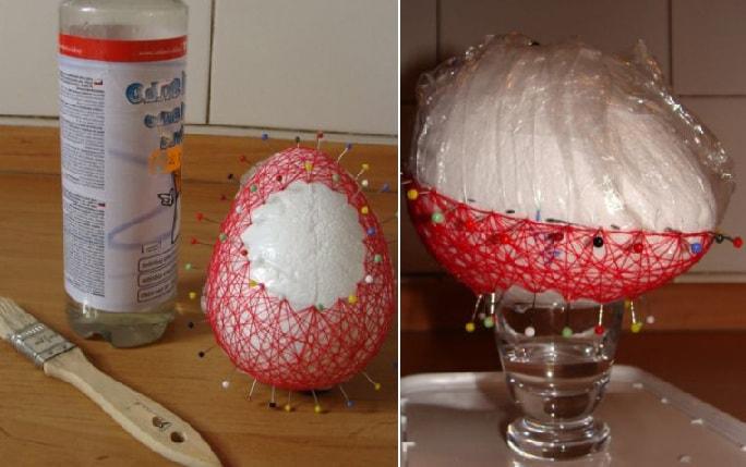 Декоративные пасхальные яйца из ниток (14)